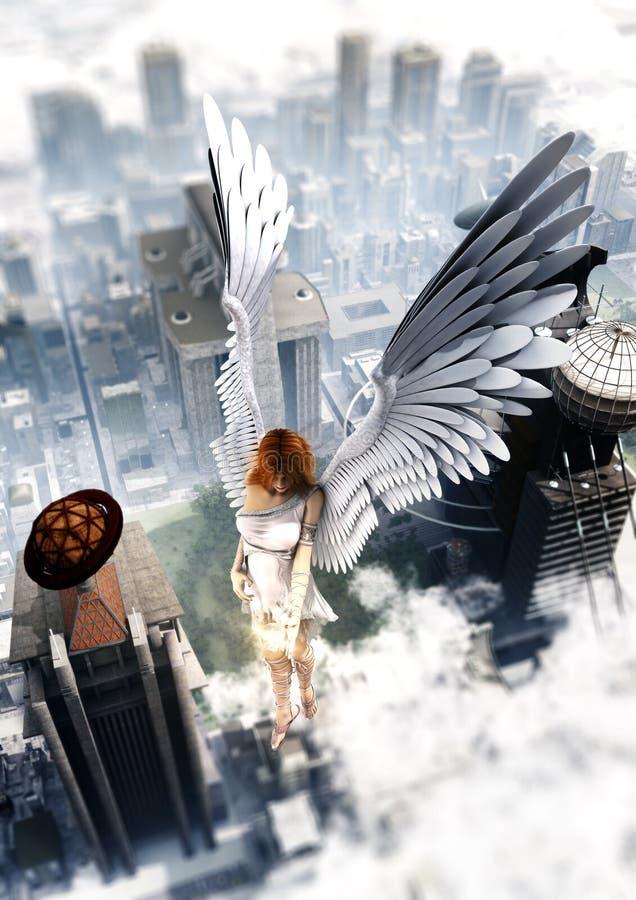 Opiekunu anioł Nad miastem ilustracji