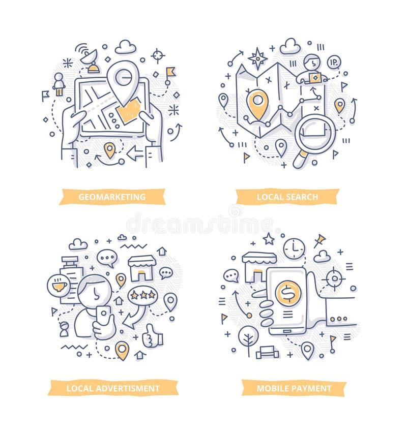 Opierać się marketingu Doodle ilustracje ilustracji