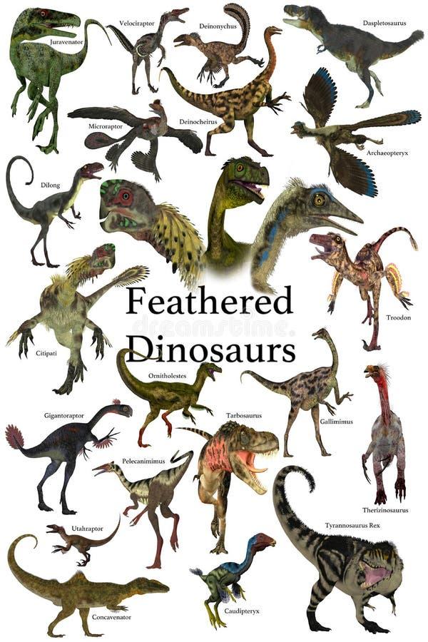 Opierzeni dinosaury ilustracja wektor