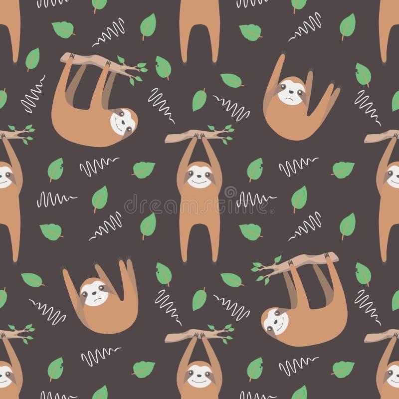 Opieszałość graficzny ilustracyjny bezszwowy wzór z modnymi wiszącymi kreskówka stylu zwierzętami z liśćmi i gałąź na ciemnego cz ilustracji