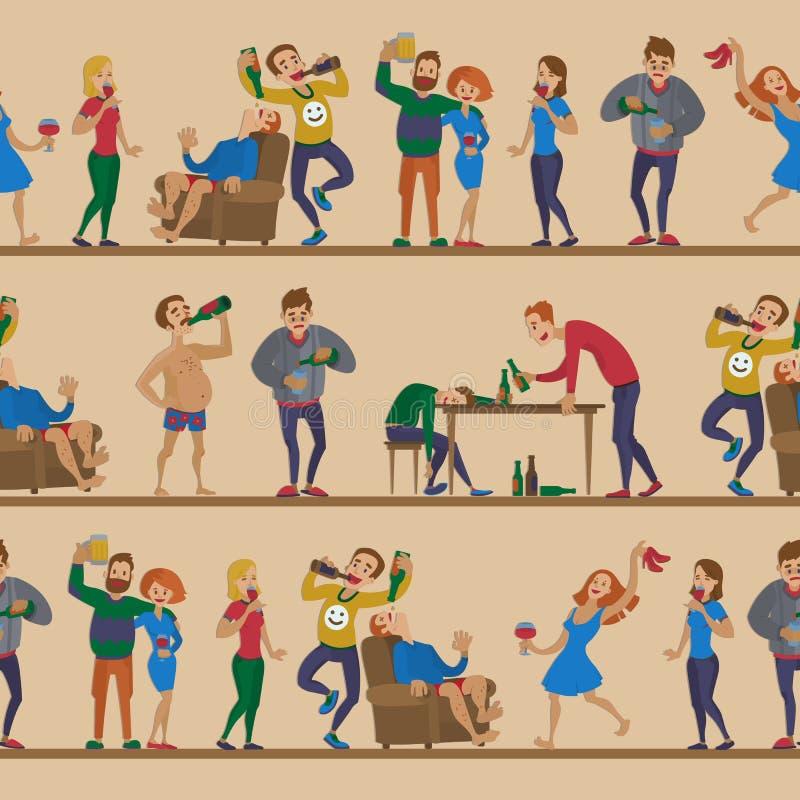 Opili ludzie kreskówki kobiety i mężczyzna alkoholizmu charakterów chmielnej podciętej osoby wektorowy alkoholiczny bezszwowy wzó ilustracji