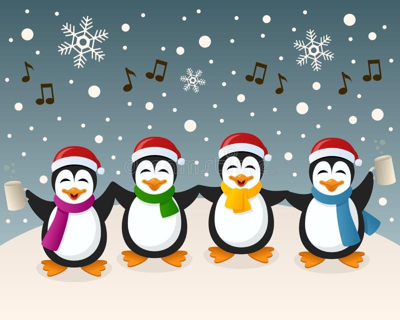 Opili pingwiny Śpiewa na śniegu ilustracji