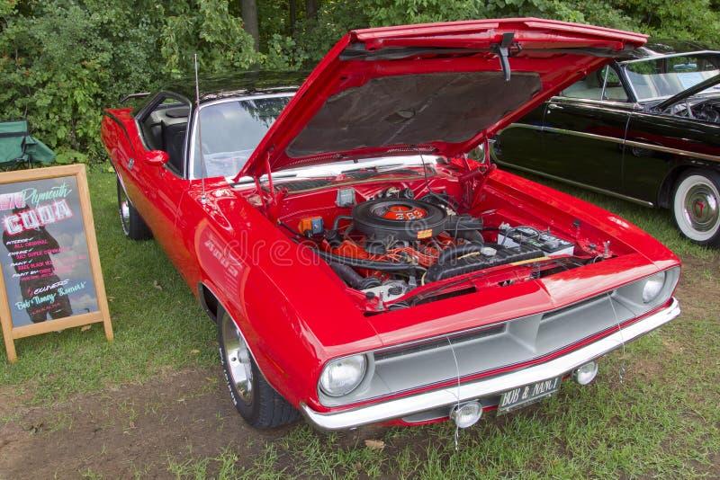 Opinião 1970 dianteira de Plymouth Cuda foto de stock royalty free
