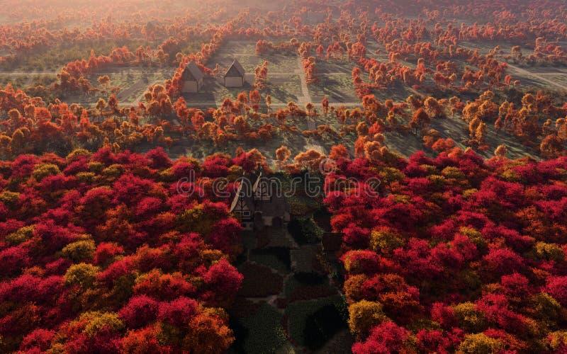 Opinião aérea Autumn Countryside ilustração royalty free