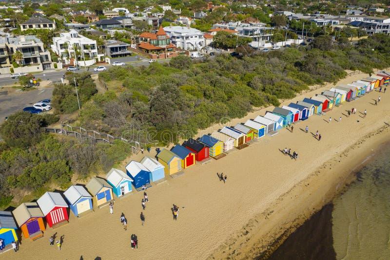 Opinião aérea Brighton Bathing Boxes em Melbourne fotografia de stock royalty free