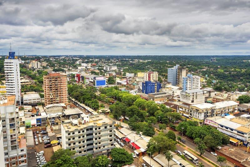 Opinião aérea Ciudad del Este, Paraguai fotos de stock royalty free