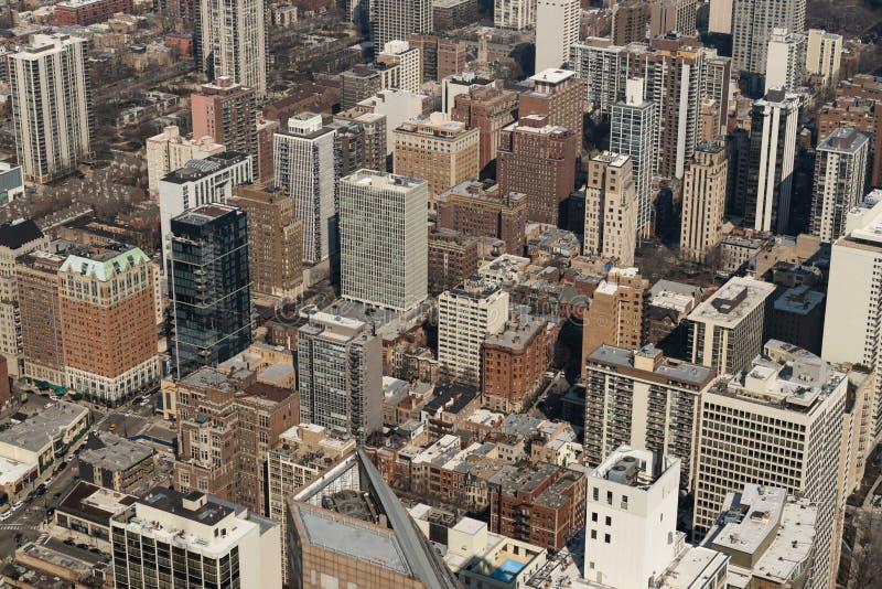 Opinião aérea da arquitetura da cidade do distrito residencial ou do centro da cidade de Chicago Vida americana, ou midwest que c imagens de stock