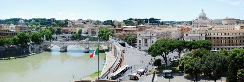 Opinião aérea da cidade de Roma do castelo de San Angelo imagens de stock