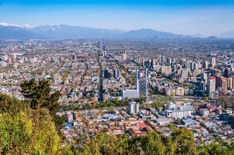 Opinião aérea da cidade do Santiago do Chile fotografia de stock royalty free