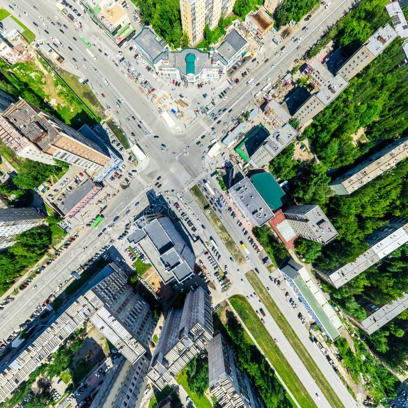 Opinião aérea da cidade Paisagem urbana Tiro do helicóptero Imagem panorâmico imagem de stock royalty free