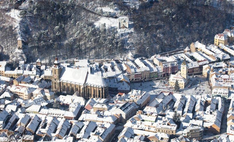 Opinião aérea da cidade velha de Brasov fotos de stock royalty free