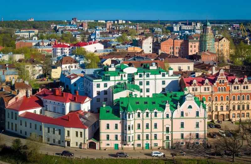 Opinião aérea da cidade velha de Viborg fotografia de stock royalty free
