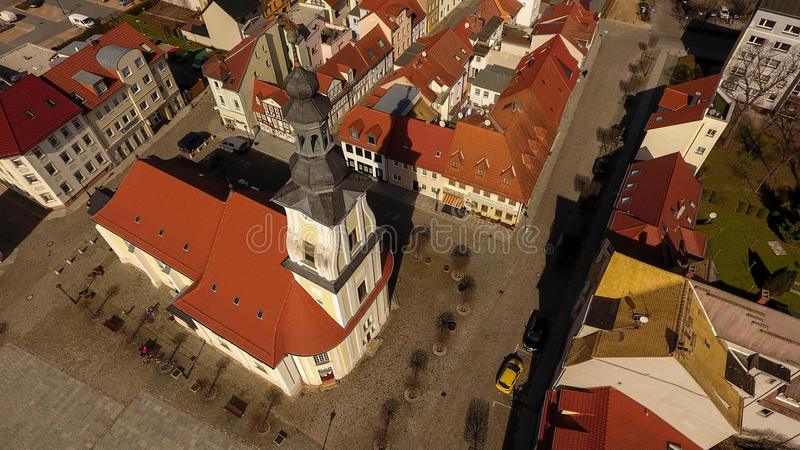 Opinião aérea da cidade velha do mercado de Meueslwitz imagem de stock