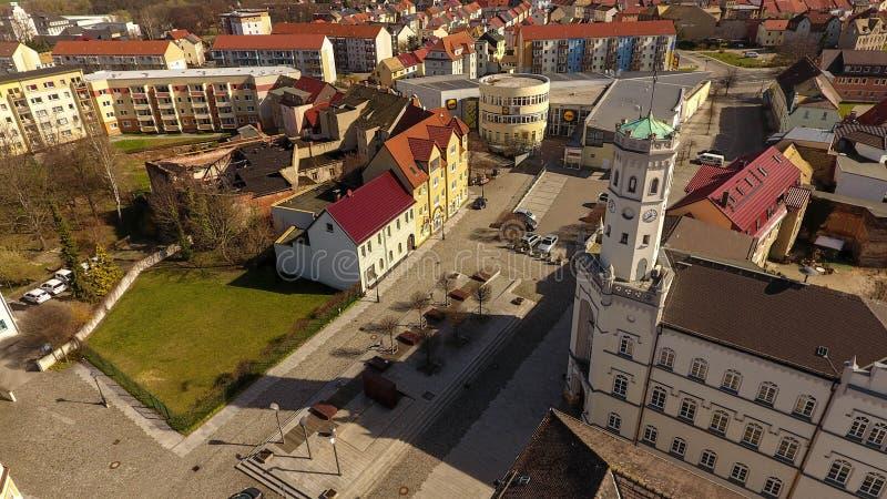 Opinião aérea da cidade velha do mercado de Meueslwitz foto de stock