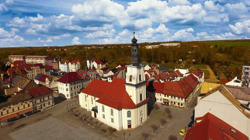 Opinião aérea da cidade velha do mercado de Meueslwitz foto de stock royalty free