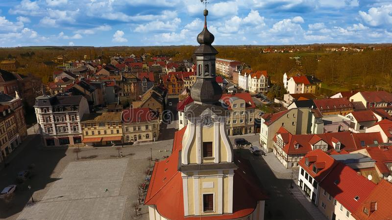 Opinião aérea da cidade velha do mercado de Meueslwitz imagem de stock royalty free