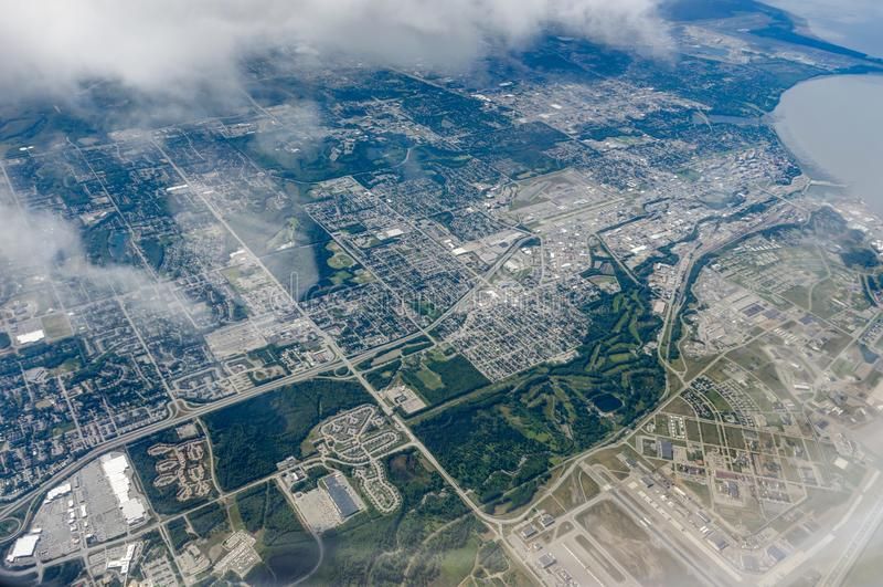 Opinião aérea da geleira no voo de Anchorage a Seattle fotos de stock royalty free