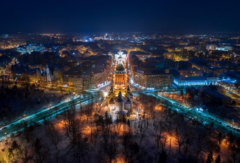 Opinião aérea da noite do inverno de Timisoara fotografia de stock royalty free