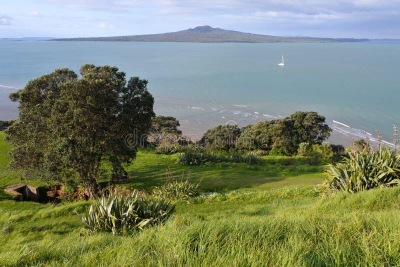 Opinião aérea da paisagem da ilha Nova Zelândia de Rangitoto imagens de stock