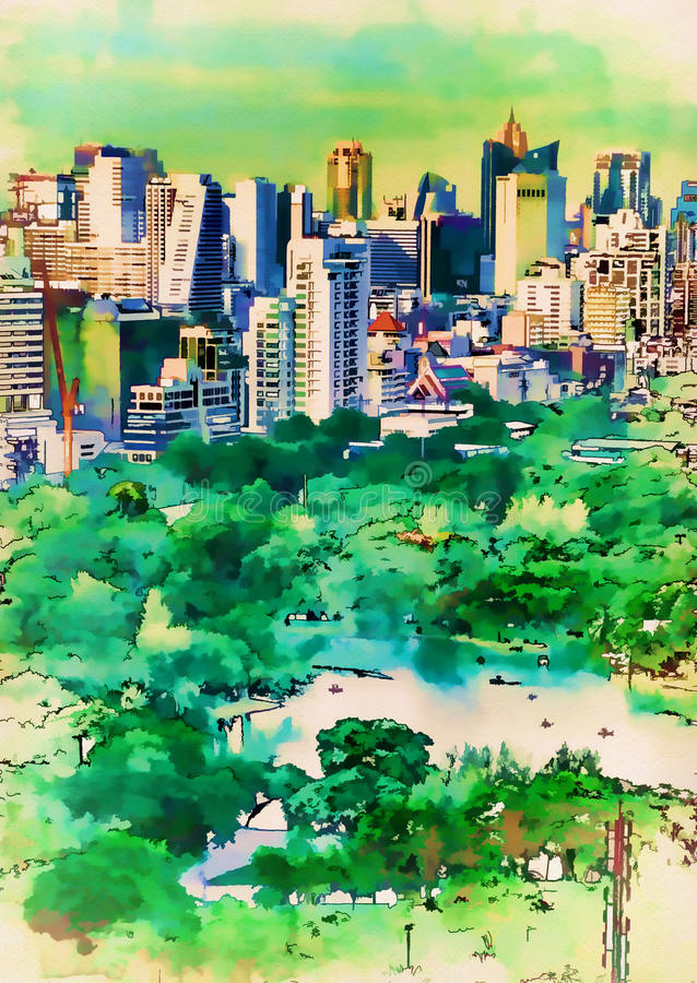 A opinião aérea da pintura de Digitas estaciona no capital ilustração stock