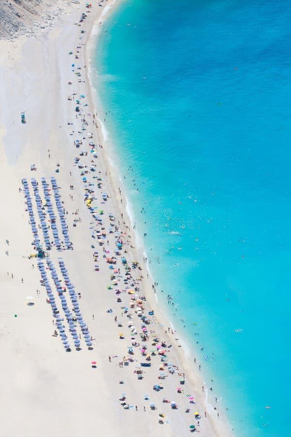 Opinião aérea da praia de Myrtos imagem de stock