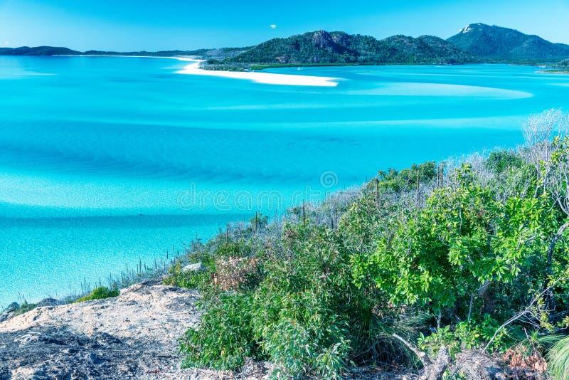 Opinião aérea da praia de Whitehaven, ilhas do domingo de Pentecostes foto de stock