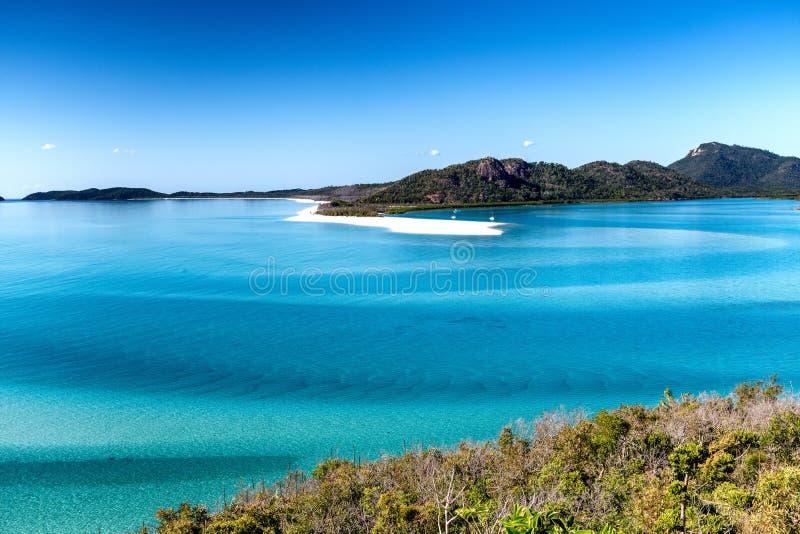 Opinião aérea da praia de Whitehaven, ilhas do domingo de Pentecostes imagem de stock royalty free