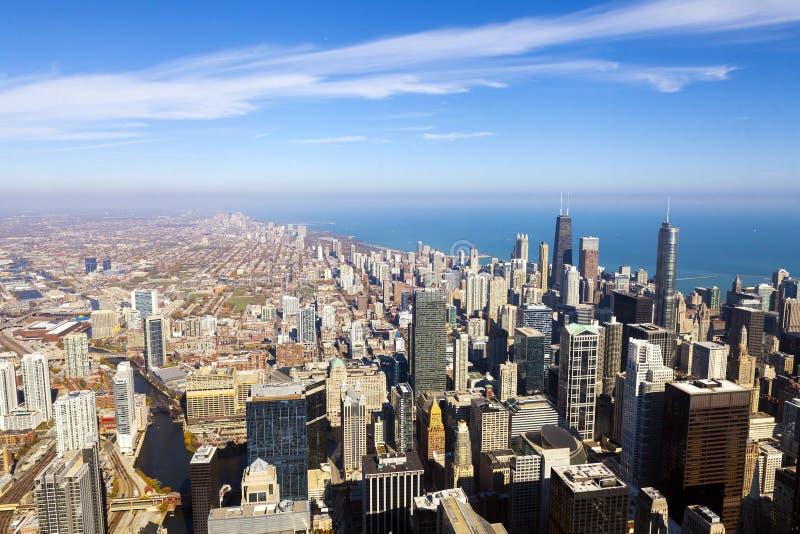 Opinião aérea da skyline de Chicago fotos de stock