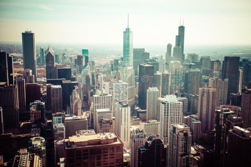 Opinião aérea da skyline de Chicago imagens de stock