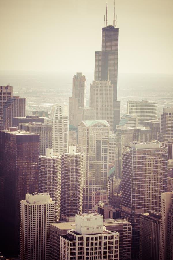 Opinião aérea da skyline de Chicago foto de stock royalty free