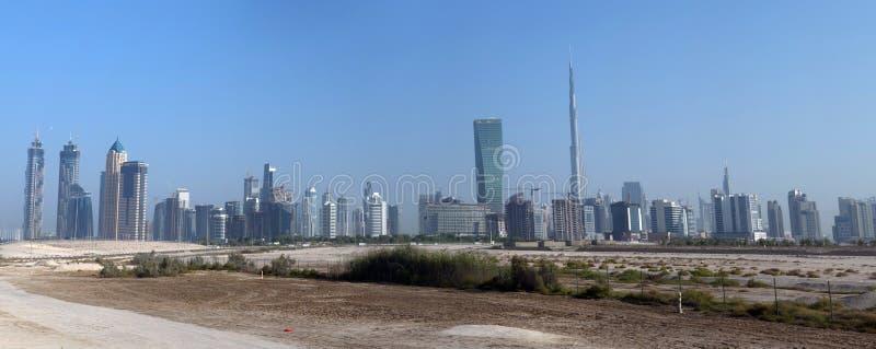 Opinião aérea da skyline de DUBAI foto de stock