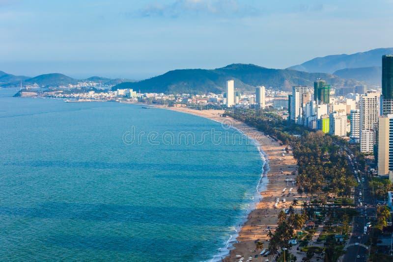 Opinião aérea da skyline de Nha Trang fotos de stock royalty free