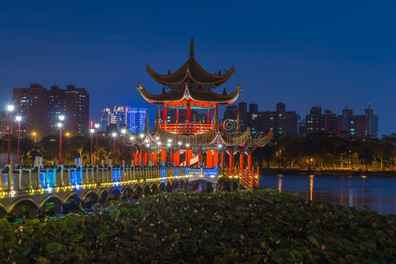 Opinião aérea das atrações turísticas famosas de Kaohsiung, pagode chinês tradicional decorado bonito com cidade de Kaohsiung den imagens de stock royalty free