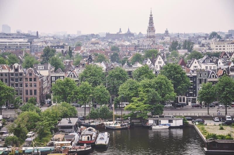 Opinião aérea de Amsterdão, Países Baixos fotografia de stock