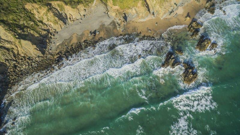 Opinião aérea de areias de Marloes, Gales ocidental do zangão foto de stock