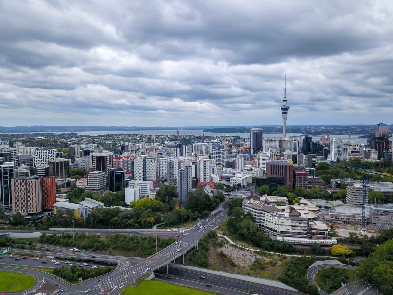 Opinião aérea de Auckland CBD fotografia de stock royalty free