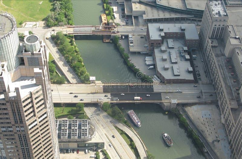 Opinião aérea de Chicago River foto de stock royalty free