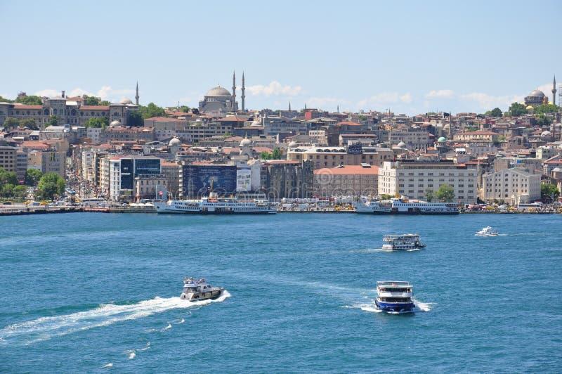 Opinião aérea de Istambul à cidade, à mesquita azul e ao Hagia Sophia Mosque fotografia de stock royalty free