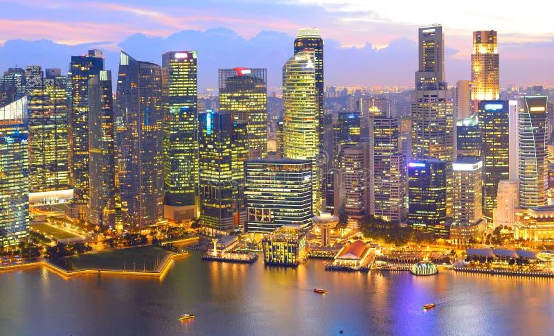 Opinião aérea de Singapura Dowtown da skyline imagens de stock royalty free