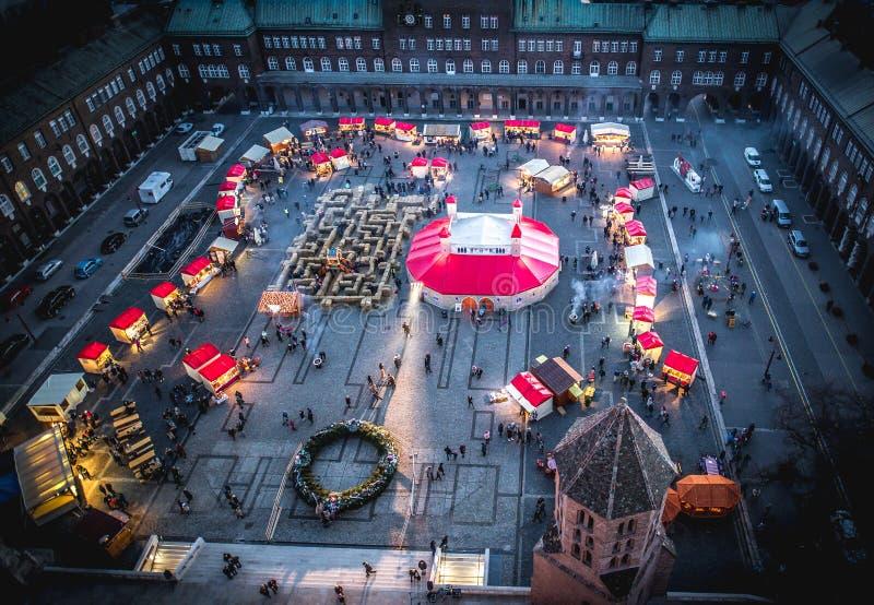 Opinião aérea de Szeged Advent Christmas Market fotos de stock
