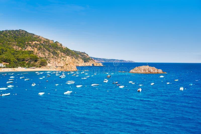 Opinião aérea de Tossa de Mar em Costa Brava de Girona fotografia de stock