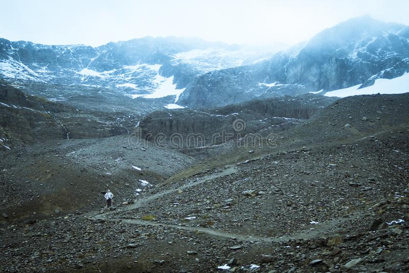 Opinião aérea de Ushuaia da geleira marcial Tierra del Fuego em Argentina fotos de stock