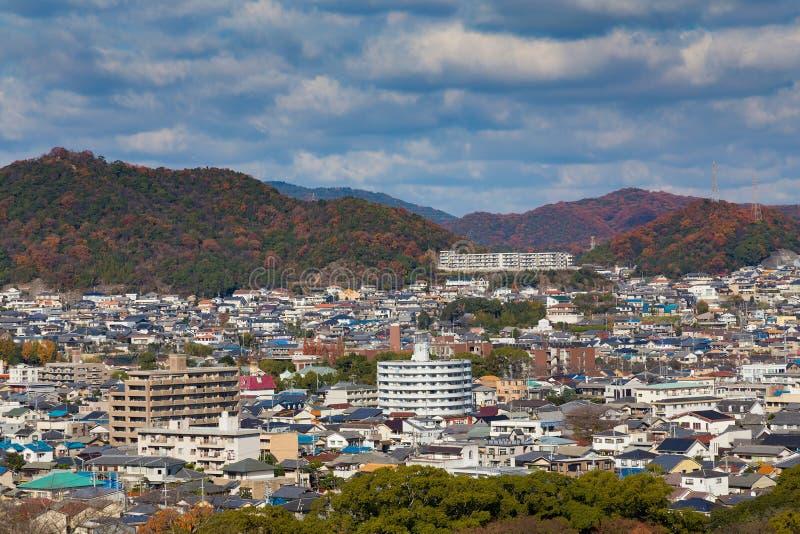 Opinião aérea do centro da residência de Himeji foto de stock