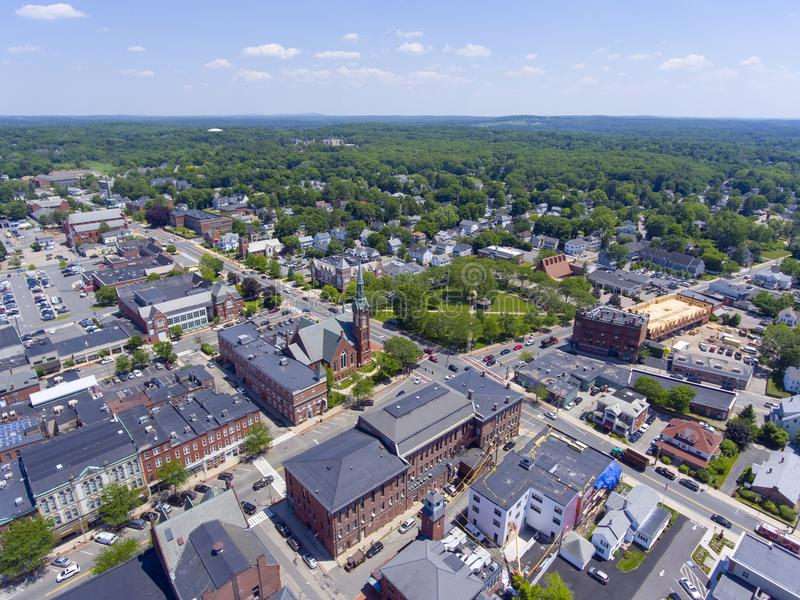 Opinião aérea do centro de Natick, Massachusetts, EUA fotografia de stock royalty free