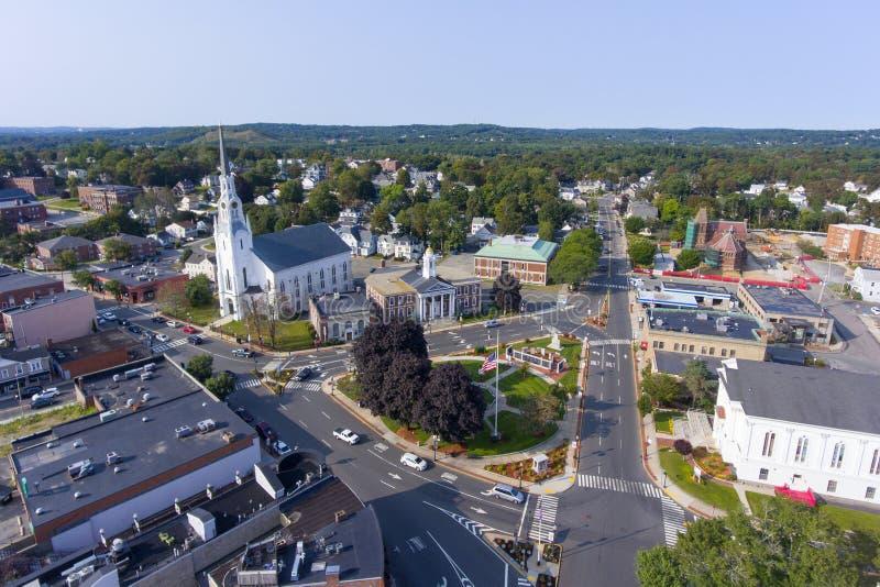 Opinião aérea do centro de Woburn, Massachusetts, EUA fotografia de stock