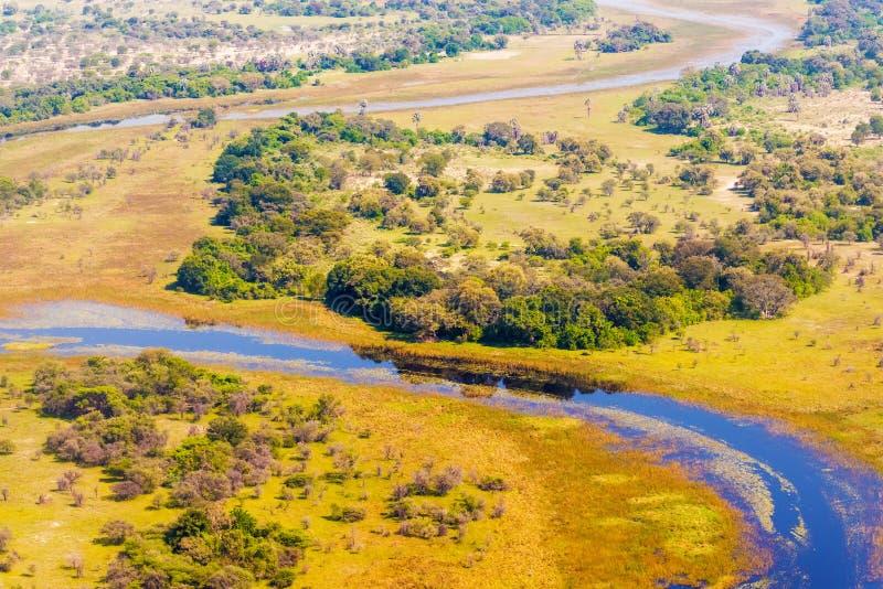 Opinião aérea do delta de Okavango imagens de stock royalty free