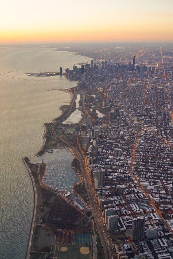 Opinião aérea do nascer do sol de Chicago Skylie fotos de stock royalty free