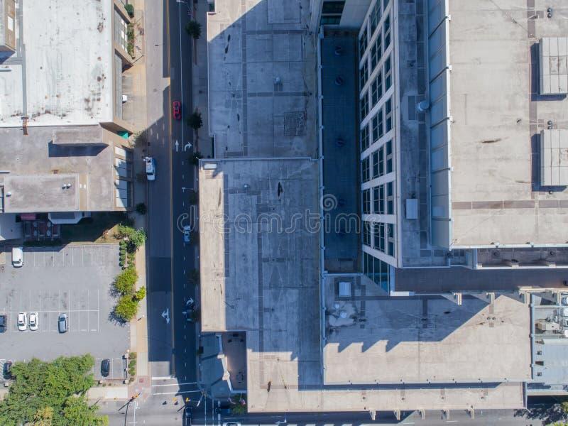Opinião aérea do olho do ` s do pássaro do zangão da cidade de Raleigh, NC fotos de stock royalty free