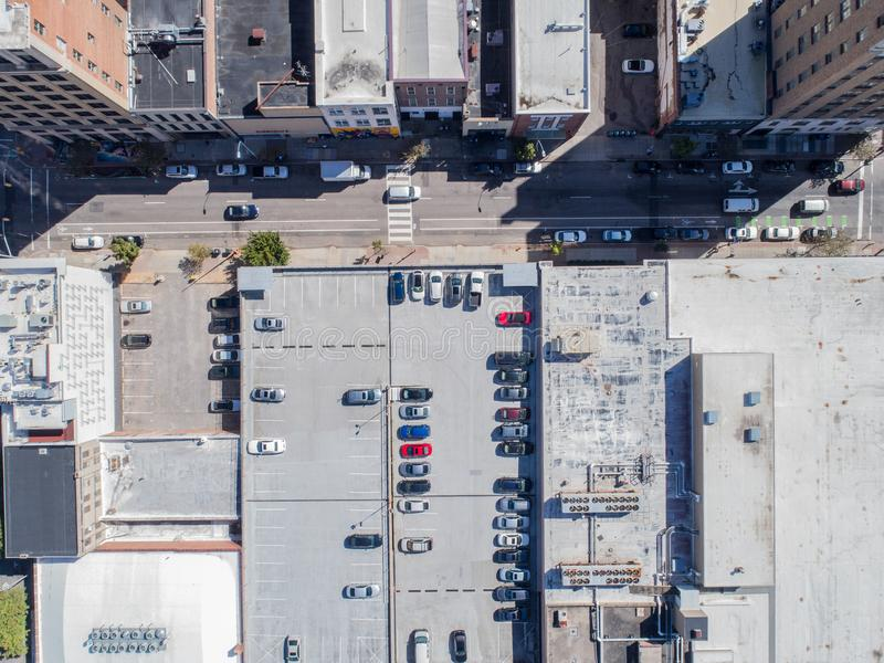 Opinião aérea do olho do ` s do pássaro do zangão da cidade de Raleigh, NC fotografia de stock