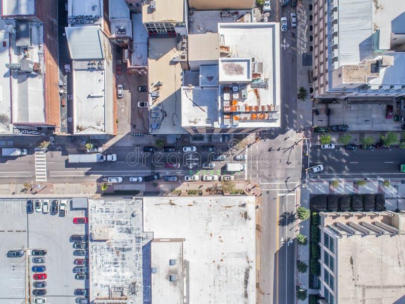 Opinião aérea do olho do ` s do pássaro do zangão da cidade de Raleigh, NC imagens de stock royalty free